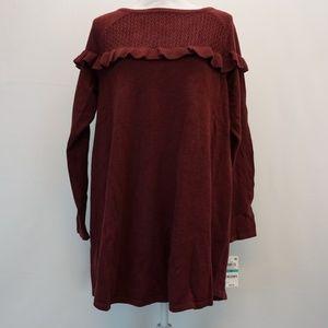 Style & Co Ruffled Crochet Tunic Sweater 0X Wine